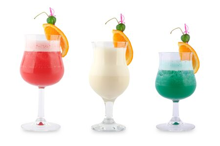 coctail: Three decorative coctails on a white background. Stock Photo