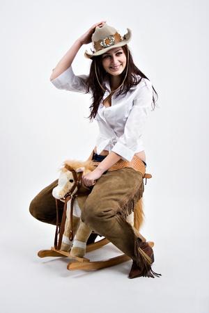 A young girl riding  photo