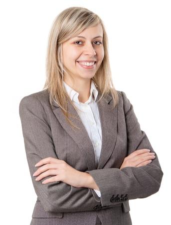 Joven sonriente mujer de negocios en el fondo blanco Foto de archivo