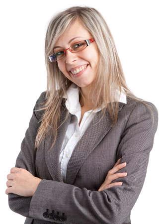 Mujer de negocios joven con los vidrios en el fondo blanco