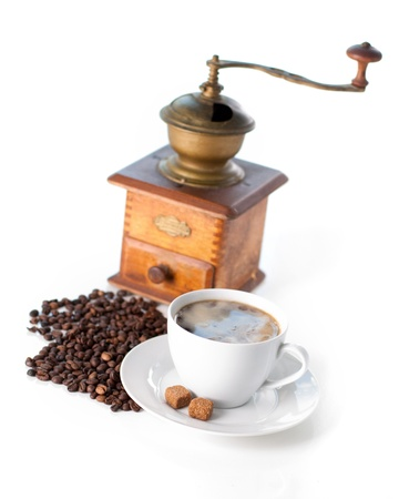 caffee: Cup of black coffee with sugar and coffee grinder Stock Photo