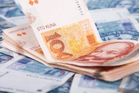 Dinero de Croacia en Europa, los billetes Kuna Foto de archivo