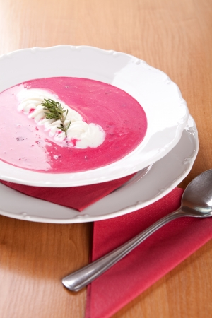beets: Farmer soup, cream and red beets with potatoes Stock Photo