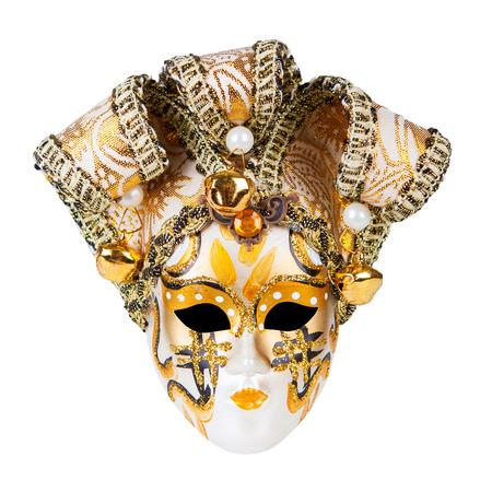 Gold Venetian mask isolated on white background Stock Photo