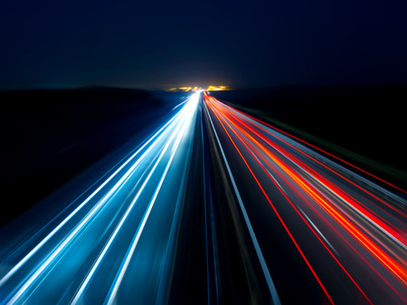 Blurry abstract photo of the lights of cars on the highway Stock Photo - 26701470