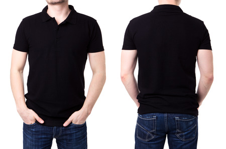 tshirts: Black polo shirt on a young man template on white background Stock Photo
