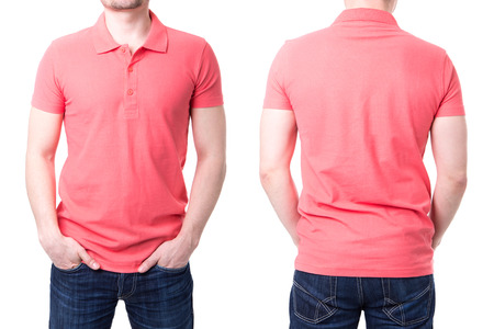 polo t shirt: Pink polo shirt on a young man template on white background Stock Photo