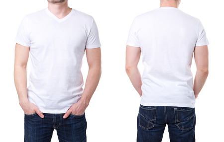 White t shirt on a young man template on white background photo
