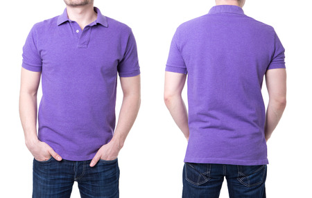 Purple polo shirt on a young man template on white background photo