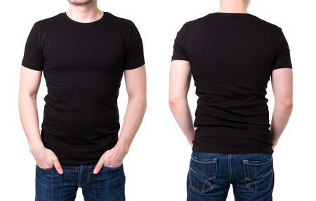 shirt template: Black t shirt on a young man template on white background Stock Photo