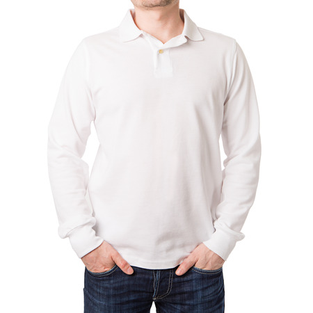 White polo shirt with a long sleeve on a young man on a white background
