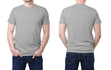 白い背景の上の若い男がテンプレートにグレーの t シャツ