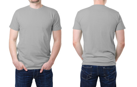 Gray t shirt on a young man template on white background photo