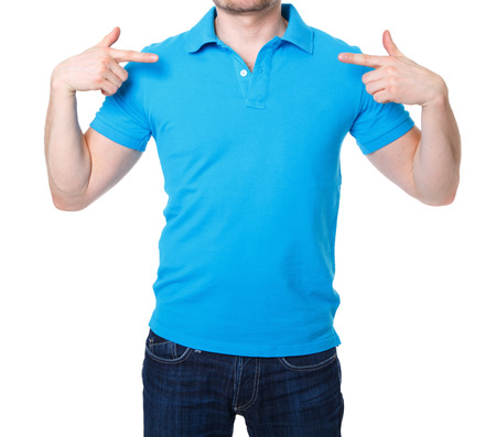back posing: Blue polo shirt on a young man template on white background Stock Photo