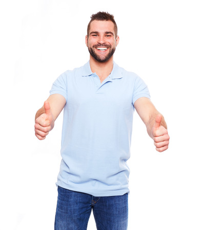 Happy man giving with both hands the thumbs up sign on the portrait on white background