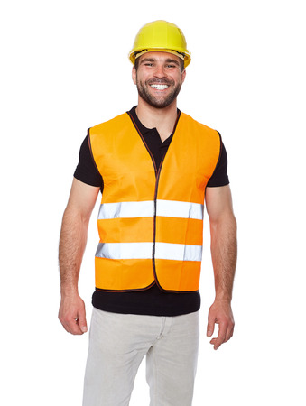 Portrait of smiling worker in a reflective vest isolated on white background  photo