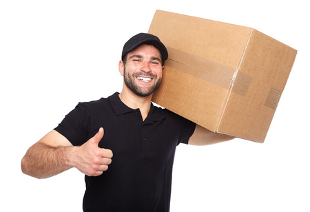 mail: Smiling delivery man giving cardbox on white background Stock Photo