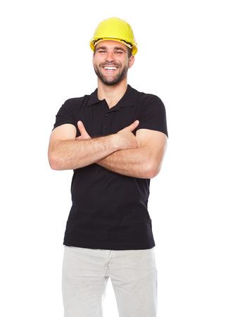白い背景の分離された黒いポロシャツの笑顔の労働者の肖像画 写真素材
