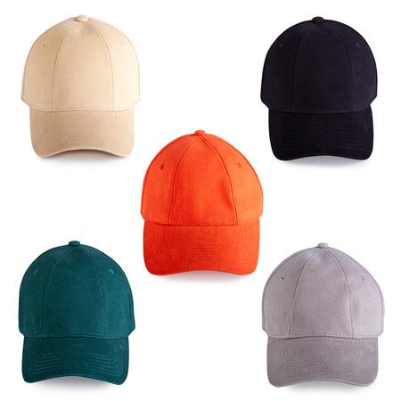black  cap: Colorful baseball caps isolated on white background Stock Photo