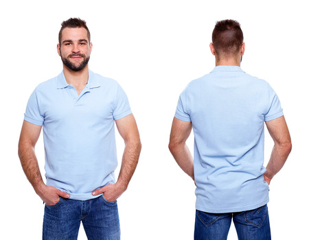 Blue polo shirt on a young man template on white background Foto de archivo