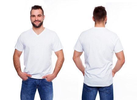 White t shirt on a young man template on white background Фото со стока
