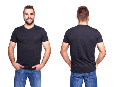 Black t shirt on a young man template on white background Archivio Fotografico