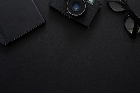 Top view of workplace Photographer with copy space Imagens