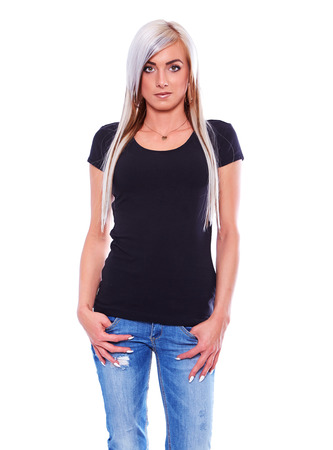 black t shirt: Young woman in black t-shirt isolated on white background Stock Photo