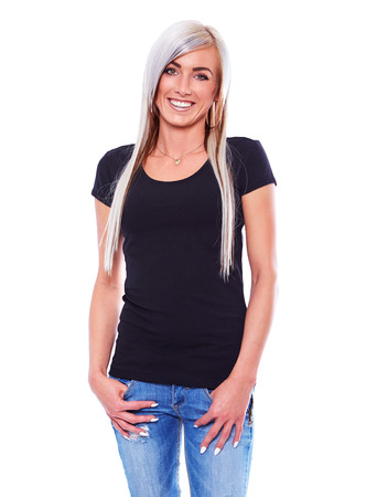 black t shirt: Young woman in black t-shirt smiling on white background