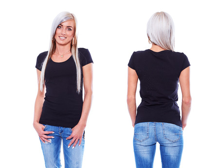 Black t shirt on a young woman template on white background