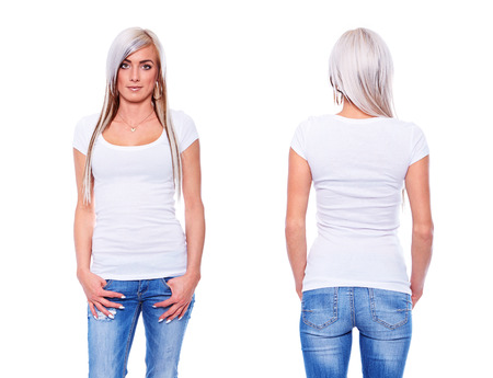 White t shirt on a young woman template on white background photo