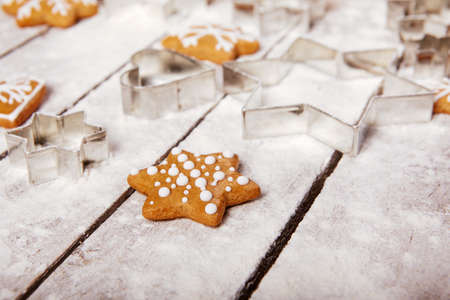 pastry cutters: Christmas gingerbread on the table, top view Stock Photo
