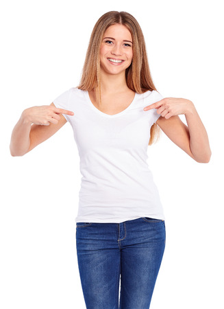 blank t shirt: Template woman in white shirt on a white background Stock Photo
