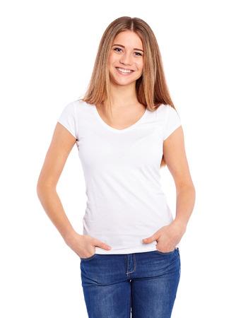 modelo: Mujer joven feliz en un fondo blanco Foto de archivo