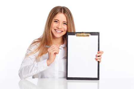 Business young woman showing on the folder at the table