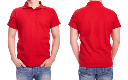 Young man with red polo shirt on a white background Foto de archivo