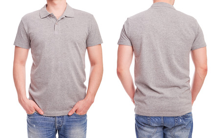 men shirt: Young man with gray polo shirt on a white background Stock Photo