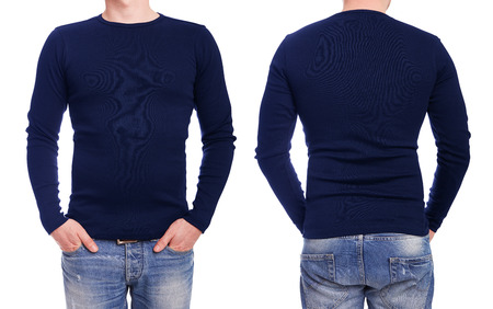 long sleeve: Young man with blue t shirt on a white background Stock Photo