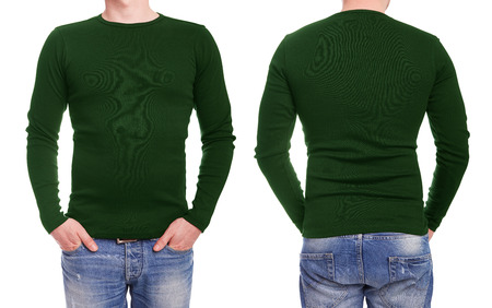 long sleeve: Young man with green t shirt on a white background