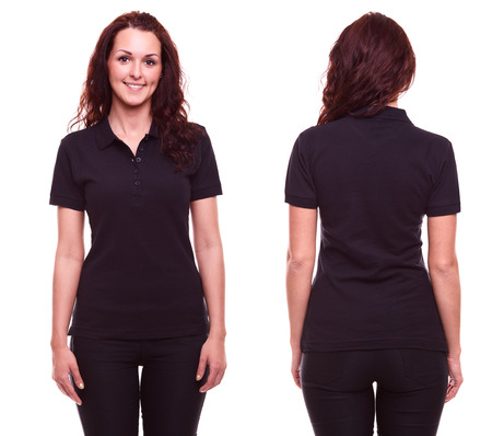 wearing: Young woman in black polo shirt on white background