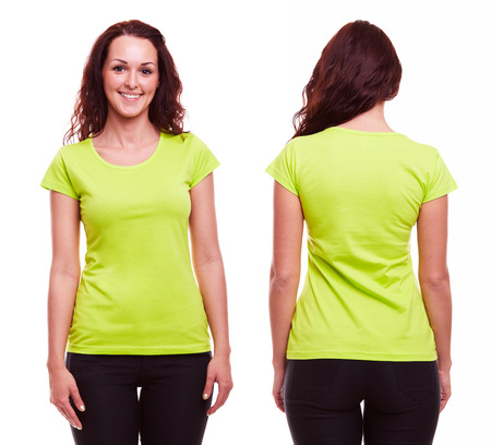Young woman in green t-shirt on white background Stock Photo