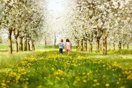 espalda: El muchacho va con la niña en un huerto en flor