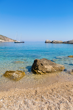 croatia: Beach in the Adriatic Sea on the island of Hvar, Croatia. Stock Photo