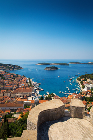 croatia: Beautiful view of harbor in Hvar town, Croatia Stock Photo