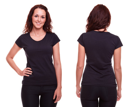 t shirt model: Young woman in black shirt on white background