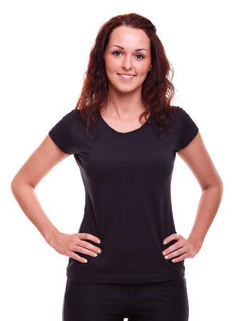 Frau in einem schwarzen Hemd auf einem weißen Hintergrund Standard-Bild - 43125203