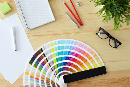 pantone: Top view of the table graphic designer
