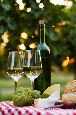 bottle of wine: Two glasses of white wine and bottle