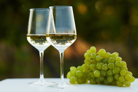 wine glasses: Two glasses of white wine on table