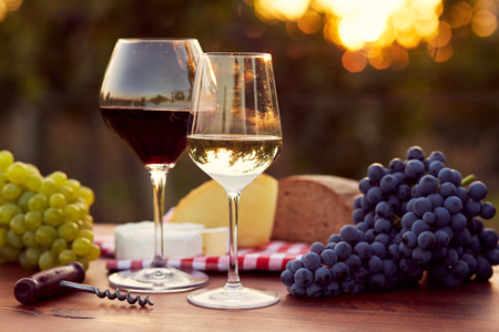 Two glasses of white and red wine with food at sunset, toned